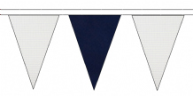 WHITE AND NAVY BLUE TRIANGULAR BUNTING - 10m / 20m / 50m LENGTHS